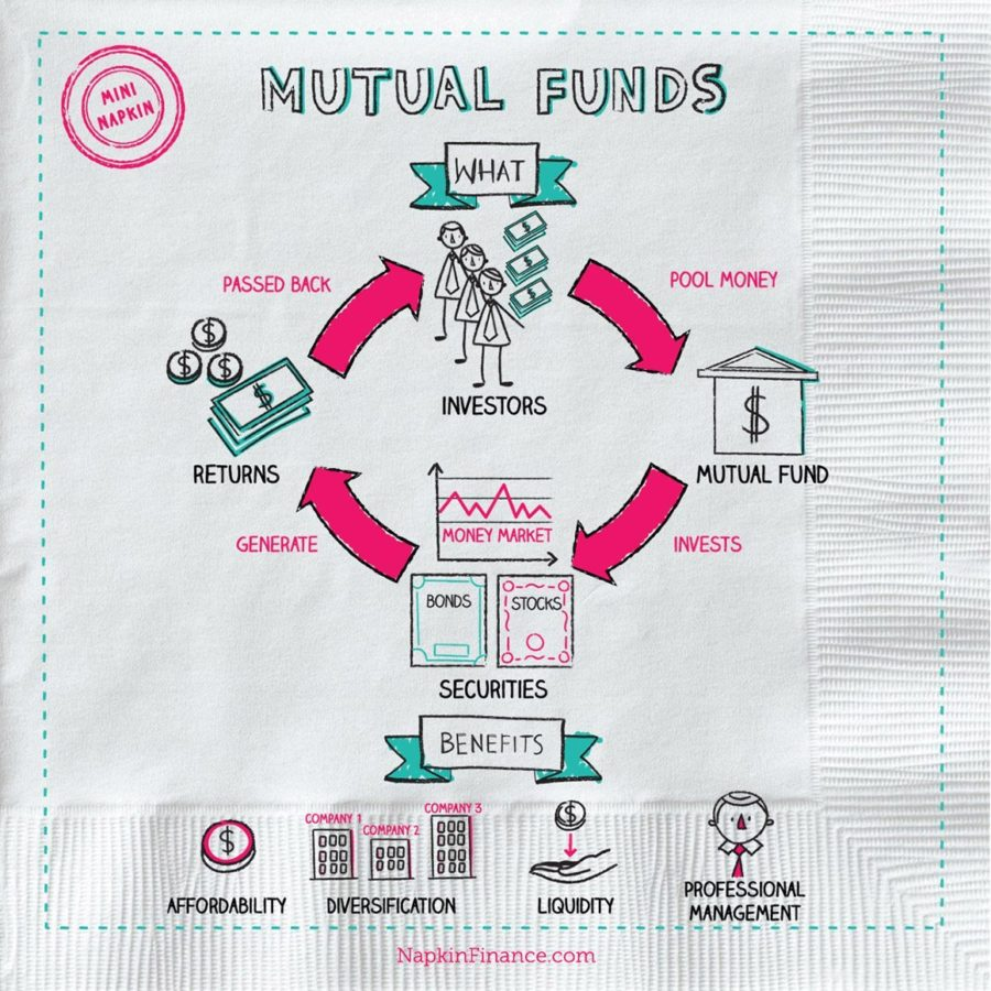 Mutual funds, trust fund, bonds, stocks, affordability, diversification, liquidity, and professional management are all topics covered in this infographic